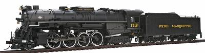 2-8-4 Berkshire w/Tender Pere Marquette 1218 -- HO Scale Model Train Steam Locomotive -- #50902