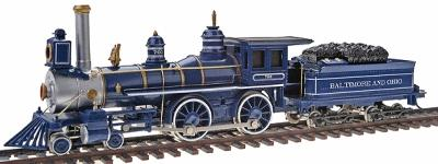 American 4-4-0 with Tender B&O 1890's Royal Blue -- HO Scale Model Train Steam Locomotive -- #51144