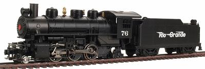 Prairie 2-6-2 with Tender Rio Grande Flyer Green -- HO Scale Model Train Steam Locomotive -- #51517