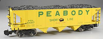 3-Bay Hopper - Peabody Coal -- G Scale Model Train Freight Car -- #98229