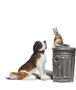 Scenic Accents(R) Figures - Dog w/Cat On Trashcan -- G Scale Model Railroad Figure -- #a2524